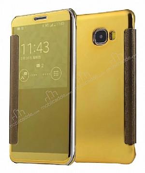 Eiroo Mirror Cover Samsung Galaxy C5 Aynalı Kapaklı Gold Kılıf