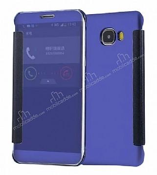 Eiroo Mirror Cover Samsung Galaxy C7 Aynalı Kapaklı Lacivert Kılıf