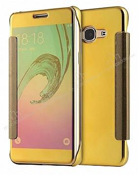 Eiroo Mirror Cover Samsung Galaxy J5 Aynalı Kapaklı Gold Kılıf