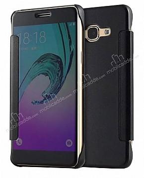 Eiroo Mirror Cover Samsung Galaxy J7 2016 Aynalı Kapaklı Siyah Kılıf