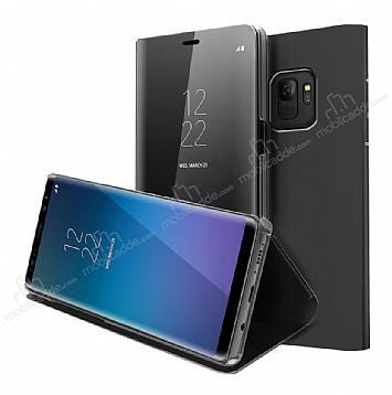 Eiroo Mirror Cover Samsung Galaxy S9 Uyku Modlu Aynalı Kapaklı Siyah Kılıf