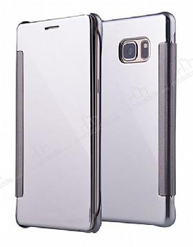 Eiroo Mirror Cover Samsung Galaxy Note FE Aynalı Kapaklı Silver Kılıf
