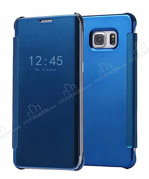 Eiroo Mirror Cover Samsung Galaxy Note FE Aynalı Kapaklı Lacivert Kılıf