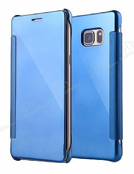 Eiroo Mirror Cover Samsung Galaxy Note FE Aynalı Kapaklı Mavi Kılıf