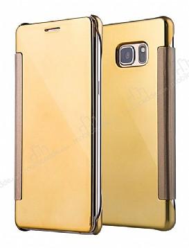 Eiroo Mirror Cover Samsung Galaxy Note FE Aynalı Kapaklı Gold Kılıf