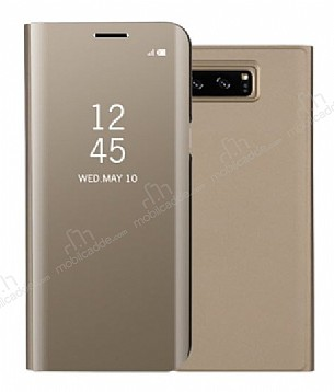 Eiroo Mirror Cover Samsung Galaxy S8 Plus Aynalı Kapaklı Gold Kılıf