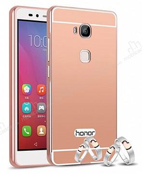 Eiroo Mirror Huawei GR5 Metal Kenarlı Aynalı Rose Gold Rubber Kılıf