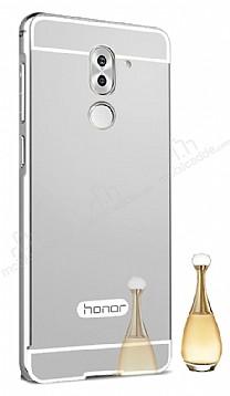 Eiroo Mirror Huawei GR5 2017 Metal Kenarlı Aynalı Silver Rubber Kılıf