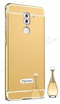 Eiroo Mirror Huawei GR5 2017 Metal Kenarlı Aynalı Gold Rubber Kılıf