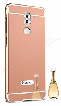 Eiroo Mirror Huawei GR5 2017 Metal Kenarlı Aynalı Rose Gold Rubber Kılıf