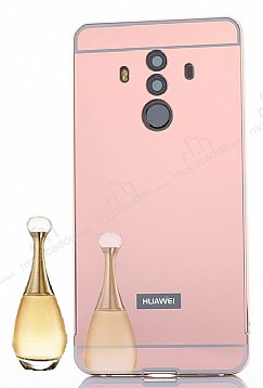Eiroo Mirror Huawei Mate 10 Pro Metal Kenarlı Aynalı Rose Gold Rubber Kılıf
