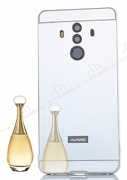 Eiroo Mirror Huawei Mate 10 Pro Metal Kenarlı Aynalı Silver Rubber Kılıf