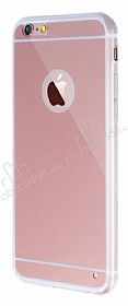 Eiroo Mirror iPhone 6 / 6S Silikon Kenarlı Aynalı Rose Gold Rubber Kılıf