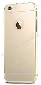 Eiroo Mirror iPhone 6 Plus / 6S Plus Metal Kenarlı Aynalı Gold Rubber Kılıf