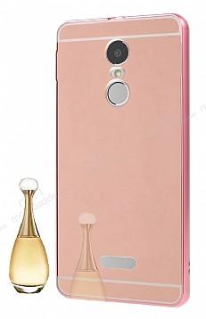 Eiroo Mirror Lenovo K6 Note Metal Kenarlı Aynalı Rose Gold Rubber Kılıf