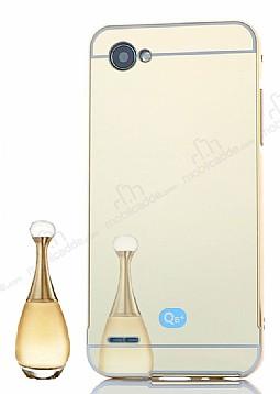 Eiroo Mirror LG Q6 Metal Kenarlı Aynalı Gold Rubber Kılıf