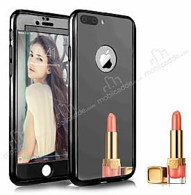 Eiroo Mirror Protect Fit iPhone 7 Plus / 8 Plus Aynalı 360 Derece Koruma Jet Black Kılıf