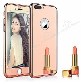 Eiroo Mirror iPhone 7 Plus Aynalı 360 Derece Koruma Rose Gold Kılıf