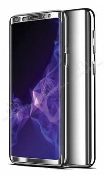 Eiroo Mirror Protect Fit Samsung Galaxy A7 2018 360 Derece Koruma Silver Kılıf