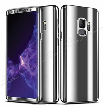 Eiroo Mirror Protect Fit Samsung Galaxy S9 Aynalı 360 Derece Koruma Silver Kılıf