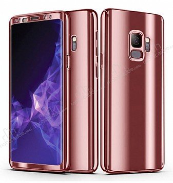 Eiroo Mirror Protect Fit Samsung Galaxy S9 Plus Aynalı 360 Derece Koruma Rose Gold Kılıf