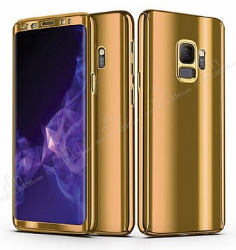 Eiroo Mirror Protect Fit Samsung Galaxy S9 Plus Aynalı 360 Derece Koruma Gold Kılıf