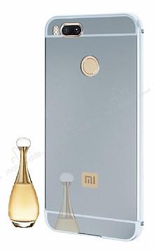 Eiroo Mirror Xiaomi Mi 5X / Mi A1 Metal Kenarlı Aynalı Silver Kılıf