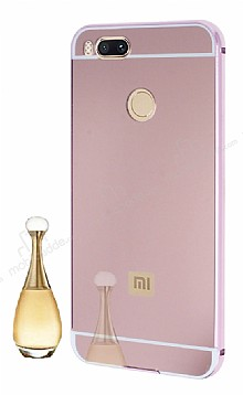 Eiroo Mirror Xiaomi Mi 5X Aynalı Metal Kenarlı Aynalı Rose Gold Kılıf