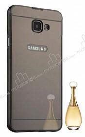 Eiroo Mirror Samsung Galaxy A8 2016 Metal Kenarlı Aynalı Siyah Rubber Kılıf