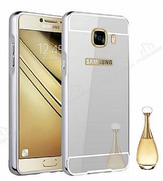 Eiroo Mirror Samsung Galaxy C5 Pro Metal Kenarlı Aynalı Silver Rubber Kılıf