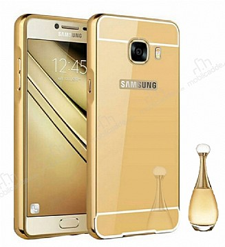 Eiroo Mirror Samsung Galaxy C5 Pro Metal Kenarlı Aynalı Gold Rubber Kılıf