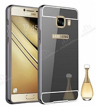 Eiroo Mirror Samsung Galaxy C9 Pro Metal Kenarlı Aynalı Siyah Rubber Kılıf