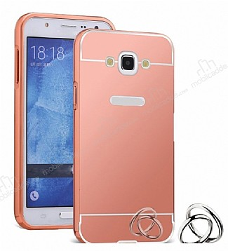 Eiroo Mirror Samsung Galaxy J5 2016 Metal Kenarlı Aynalı Rose Gold Rubber Kılıf