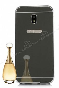 Eiroo Mirror Samsung Galaxy J5 Pro 2017 Metal Kenarlı Aynalı Siyah Rubber Kılıf