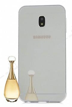 Eiroo Mirror Samsung Galaxy J5 Pro 2017 Metal Kenarlı Aynalı Silver Rubber Kılıf