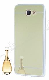 Eiroo Mirror Samsung Galaxy J7 Prime Silikon Kenarlı Aynalı Gold Rubber Kılıf