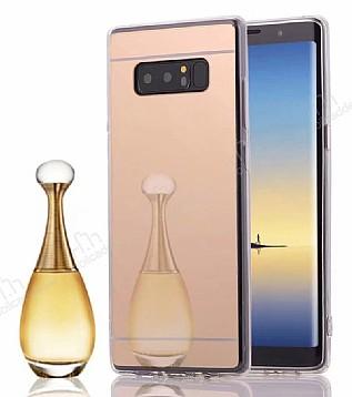 Eiroo Mirror Samsung Galaxy Note 8 Silikon Kenarlı Aynalı Gold Rubber Kılıf