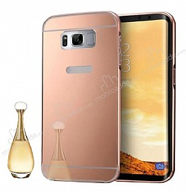 Eiroo Mirror Samsung Galaxy S8 Plus Metal Kenarlı Aynalı Rose Gold Rubber Kılıf