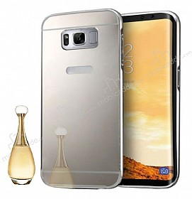 Eiroo Mirror Samsung Galaxy S8 Plus Metal Kenarlı Aynalı Silver Rubber Kılıf