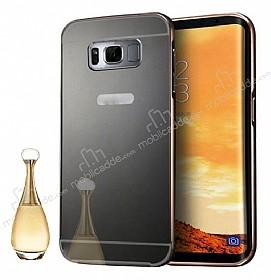 Eiroo Mirror Samsung Galaxy S8 Plus Metal Kenarlı Aynalı Siyah Rubber Kılıf
