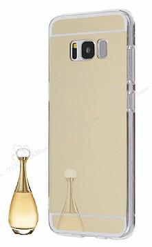 Eiroo Mirror Samsung Galaxy S8 Plus Silikon Kenarlı Aynalı Gold Rubber Kılıf