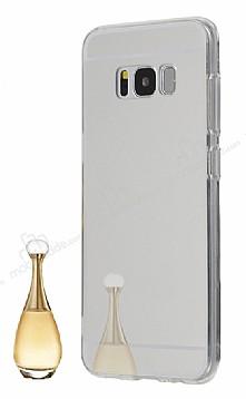 Eiroo Mirror Samsung Galaxy S8 Silikon Kenarlı Aynalı Silver Rubber Kılıf