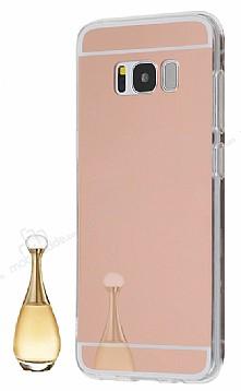 Eiroo Mirror Samsung Galaxy S8 Silikon Kenarlı Aynalı Rose Gold Rubber Kılıf