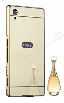 Eiroo Mirror Sony Xperia XA1 Metal Kenarlı Aynalı Gold Rubber Kılıf