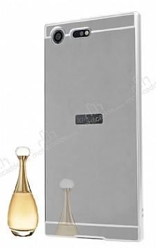 Eiroo Mirror Sony Xperia XZ Premium Metal Kenarlı Aynalı Silver Rubber Kılıf