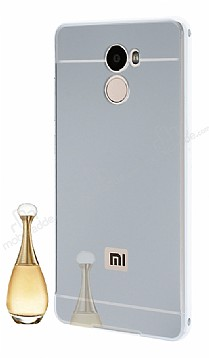 Eiroo Mirror Xiaomi Redmi 4 Metal Kenarlı Aynalı Silver Rubber Kılıf