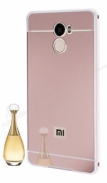 Eiroo Mirror Xiaomi Redmi 4 Metal Kenarlı Aynalı Rose Gold Rubber Kılıf