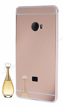Eiroo Mirror Xiaomi Mi Note 2 Metal Kenarlı Aynalı Rose Gold Rubber Kılıf