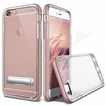 Eiroo Mixx Hybrid iPhone 6 / 6S Rose Gold Kenarlı Standlı Silikon Kılıf
