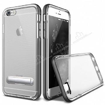 Eiroo Mixx Hybrid iPhone 6 / 6S Standlı Siyah Silikon Kılıf